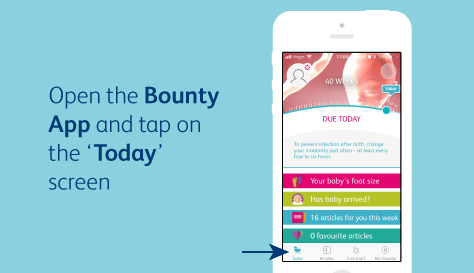 Open the Bounty App and tap on the 'Today' screen