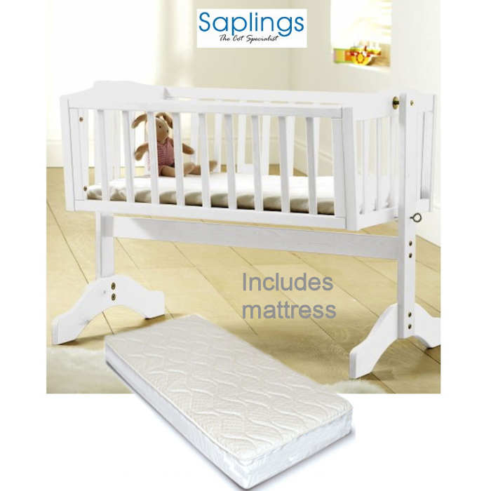 Saplings Bethany Swinging Crib With Mattress - White