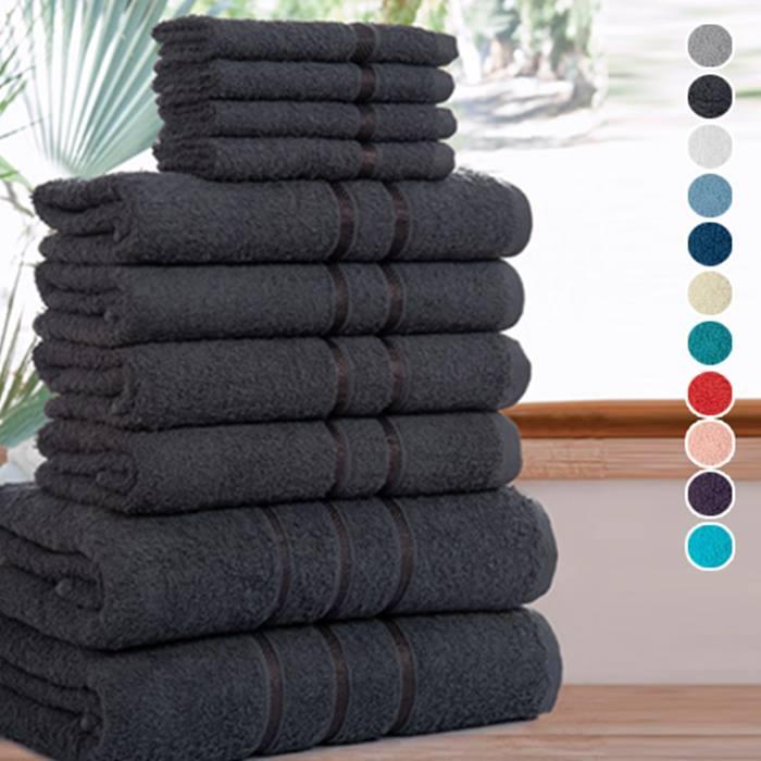 10-Piece Set of Premium Egyptian Cotton Towels - 12 Colours
