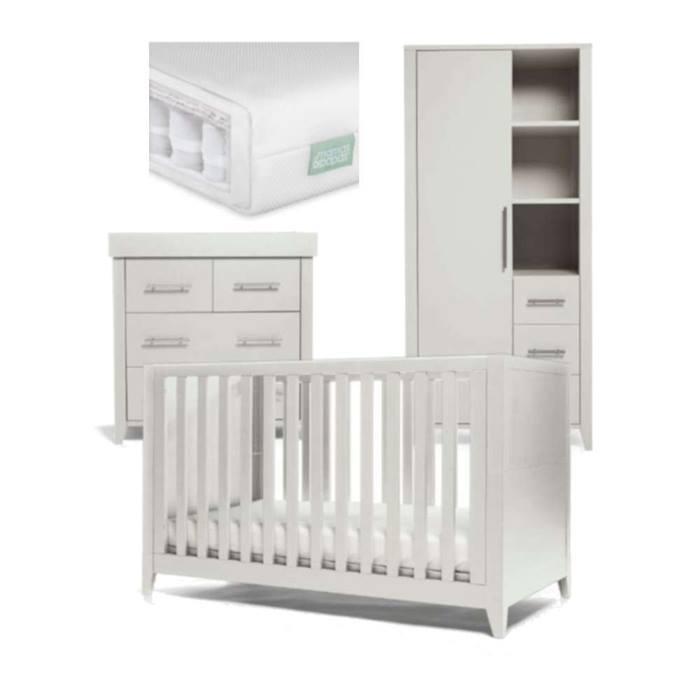 Mamas & Papas Melfi 3pc Cot Bed & Storage Wardrobe Furniture & Premium Mattress Bundle (Cool Grey)