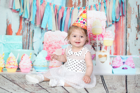 Baby Girl At Her First Birthday Party
