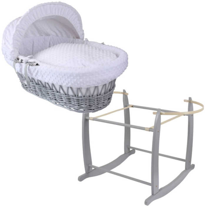 Clair de Lune Wicker Moses Basket & Deluxe Rocking Stand