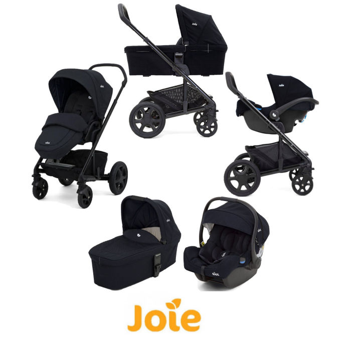 Joie Chrome DLX (i-Gemm) Travel System + Carrycot (inc Footmuff) - Navy Blazer