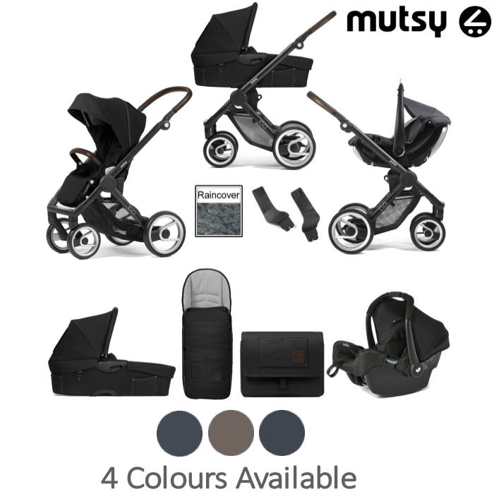 Mutsy Evo Farmer (Black Chassis) Travel System (Gemm) With Carrycot & Accessories