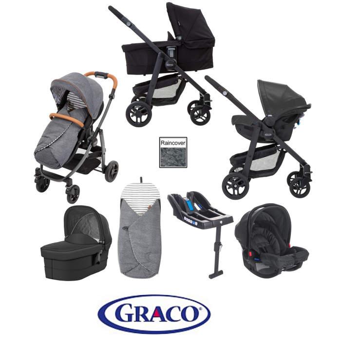 Graco Evo Avant Travel System With Carrycot & Base - Breton Stripe / Black