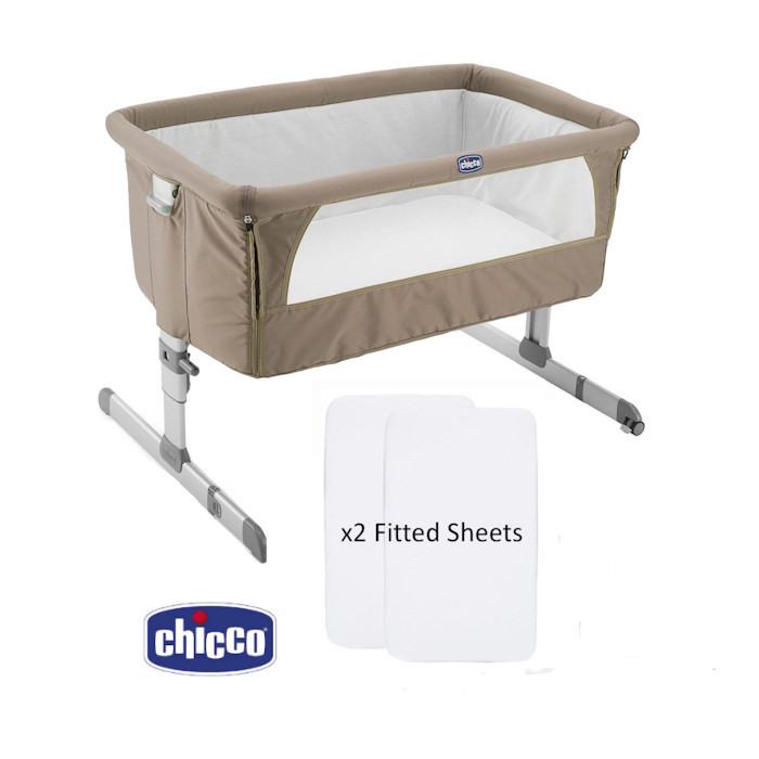 Chicco Next2Me Crib With 2 Fitted Sheets  Dove Grey