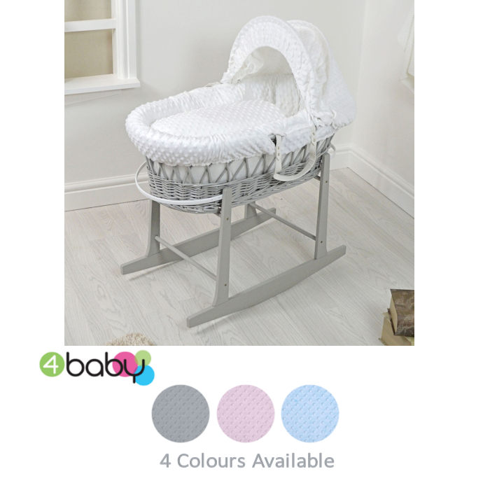 4Baby Padded Grey Wicker Moses Basket  Rocking Stand