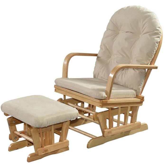 Kub Glider Chair & Stool - Cream