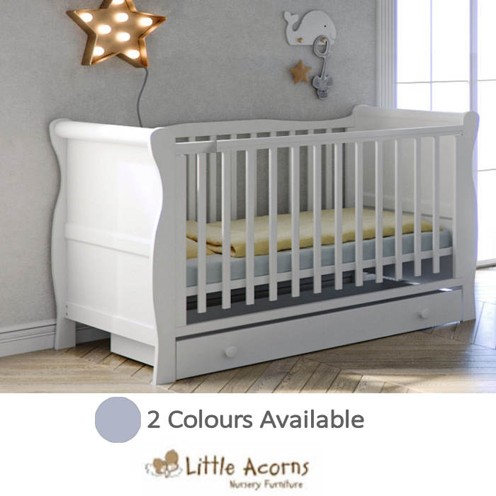 Little Acorns Sleigh Cot With Deluxe Foam Mattress & Drawer