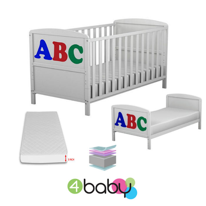 4BABY ABC DESIGN COT BED - WHITE - JUNIOR BED