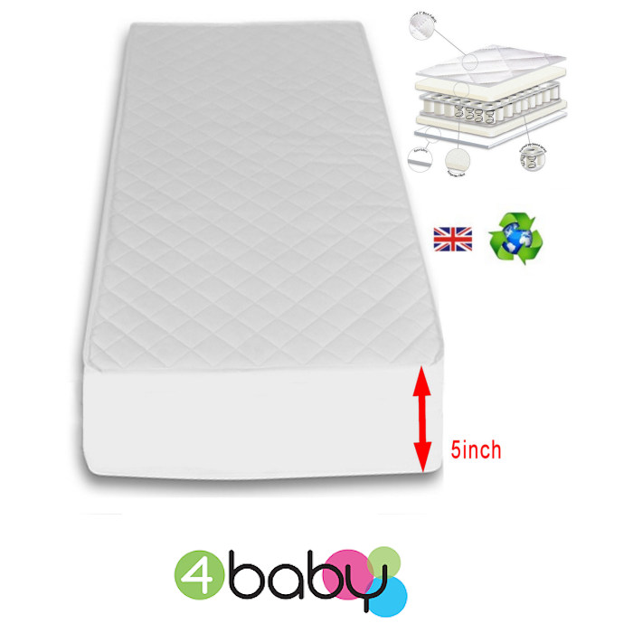 4Baby 5 Inch Deluxe Pocket Sprung Cot Bed Mattress