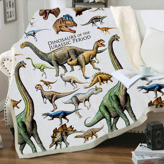 Dinosaur Sherpa Fleece Blanket - 5 Designs