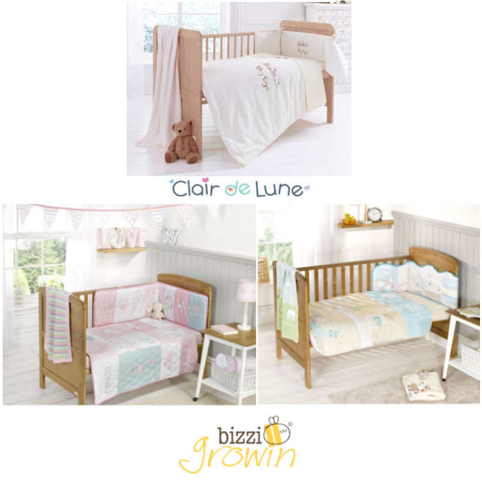 Bizzi Growin  Clair De Lune 3  4 Piece Cot  Cot Bed Bedding Bale