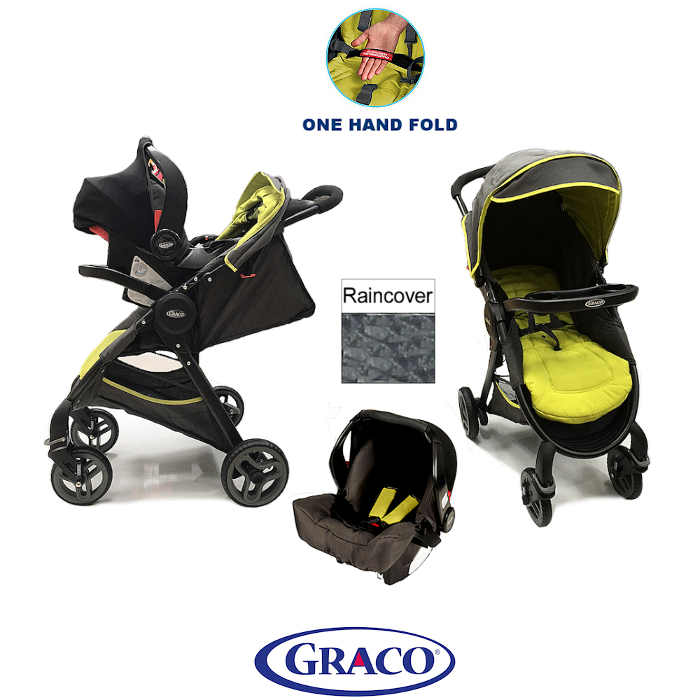 graco fast action fold travel system - sport lime - main