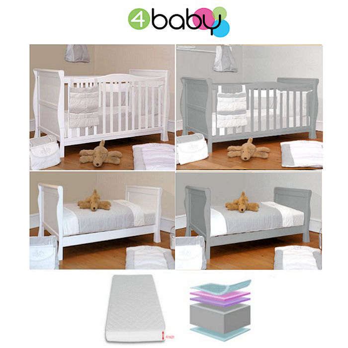 4baby Sleight Cot Bed  Mattress