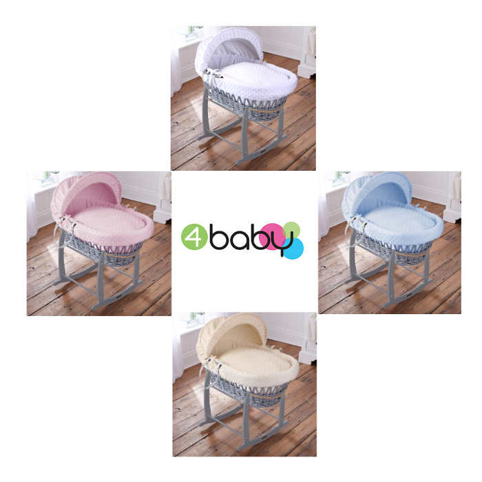 4baby Deluxe Padded Grey Wicker Moses Basket  Deluxe Rocking Stand