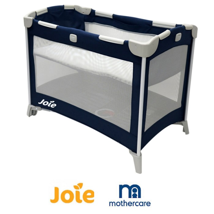 Joie Mothercare Exclusive Kubbie Bassinet Travel Cot with Mattress - Dark Blue