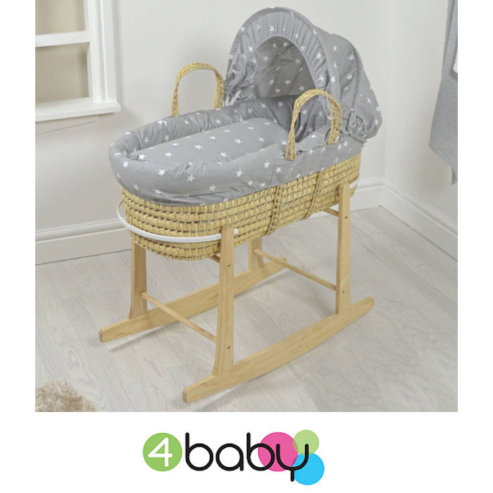4baby Deluxe Palm Moses Basket & Rocking Stand