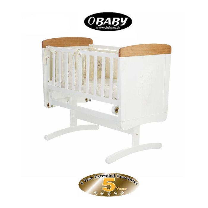 Obaby B Is For Bear Gliding Crib  Foam Mattres  White With Pine Trim