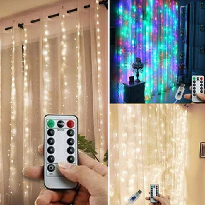 Remote Control LED Curtain Lights - 3 Colours