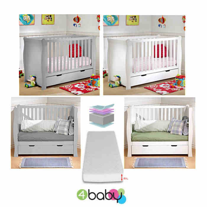 4Baby Deluxe Sleigh Cot With Drawer  Foam Mattress white  grey