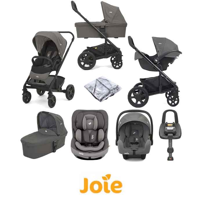 Joie Chrome Trio (i-Snug & i-Venture) Travel System with Carrycot & Isofix Base Bundle
