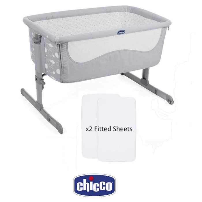 Chicco Next2me Bedside Crib Special Edition With x2 Fitted Sheets - Elegance