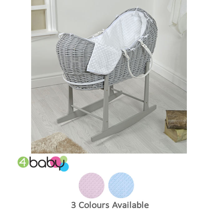 4baby Grey Wicker Snooze Pod  Rocking Stand  dimple