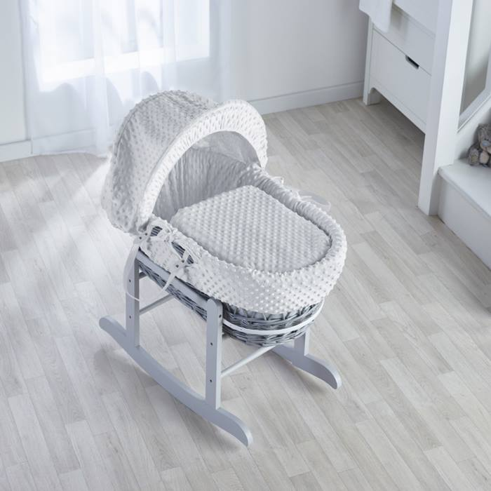 Kinder Valley Grey Wicker Moses Basket (Dimple White)
