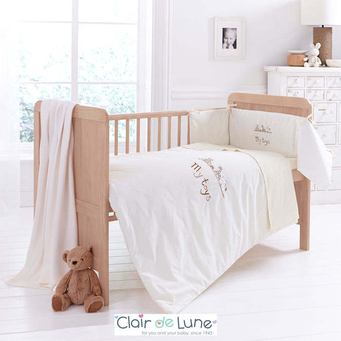 Clair De Lune My Toys 3 Piece Cot  Cot Bed Bedding Set - Cream