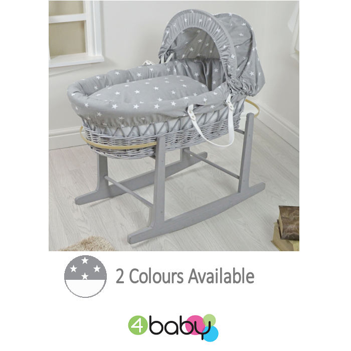 4Baby Padded Grey Wicker Baby Moses Basket  Rocking Stand  Grey White Stars