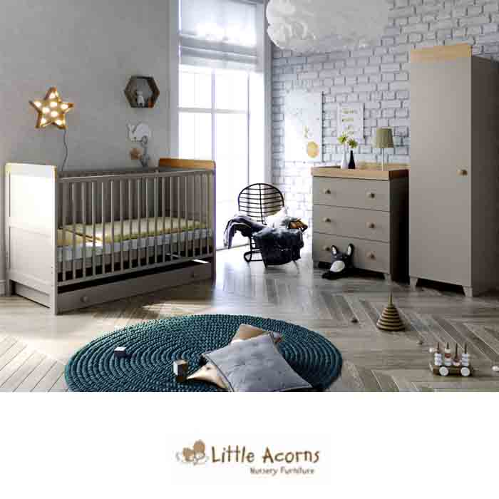 Little Acorns Classic Milano Cot Bed 5 Piece Nursery Furniture Set With Deluxe Foam Mattress Grey Oak