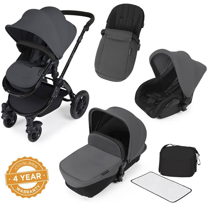 ickle bubba Stomp V2 Black All-in-One Travel System (Graphite Grey)