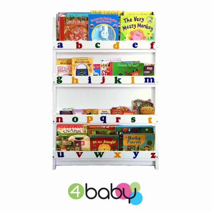 4baby Childrens Alphabet Bookcase - Storage - Organiser - White