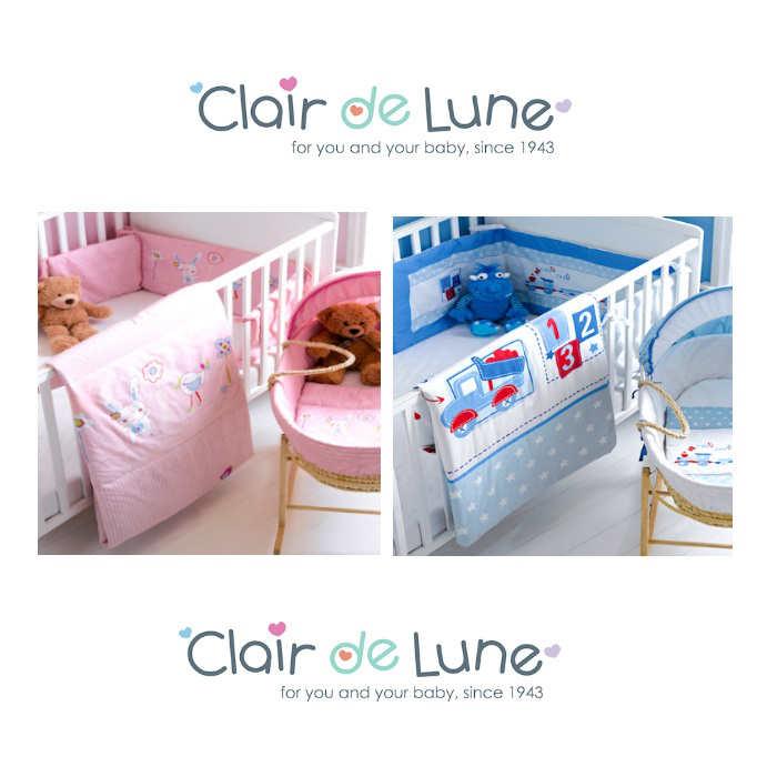 Clair De Lune Cot  Cot Bed Quilt  Bumper Set - Choo Choo Blue
