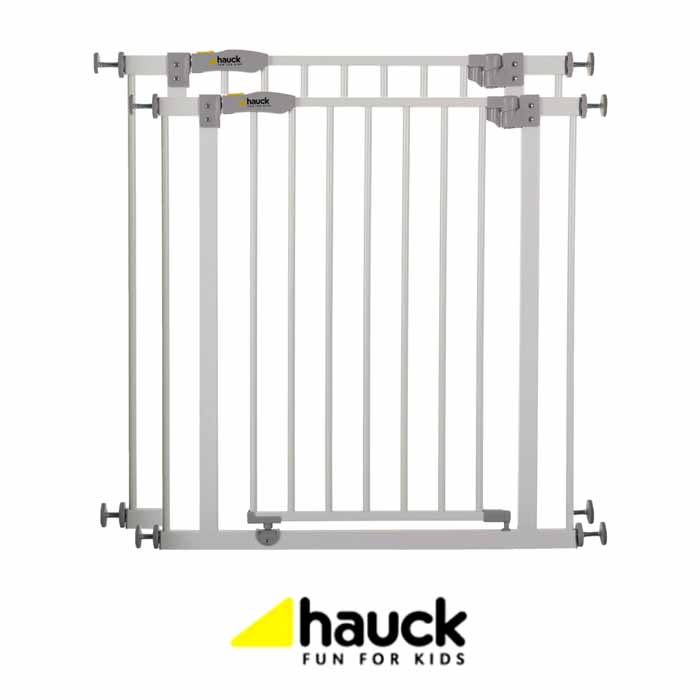 Hauck Open N Stop Metal Pressure Fix Safety Stair Gate + Extension 75 - 90cm (Pack of 2)