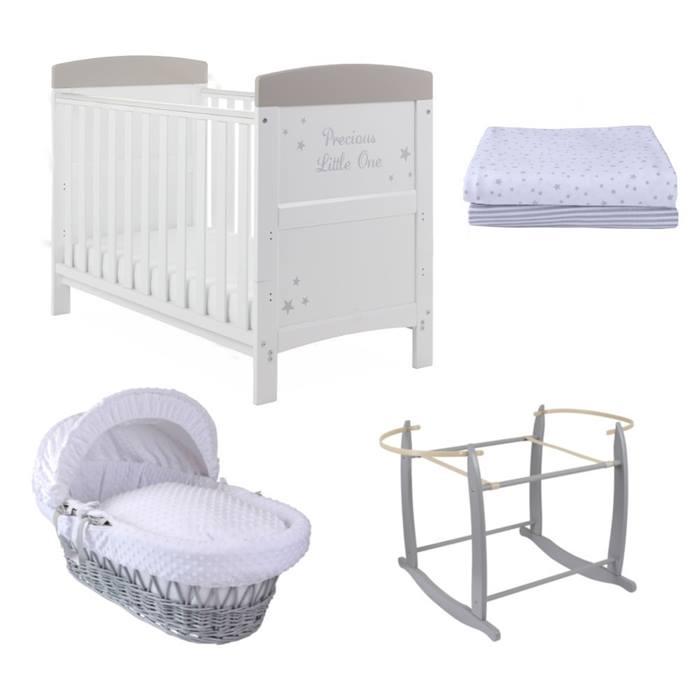 PreciousLittleOne Mini Cot Bed & Foam Mattress 6 Piece Starter Bundle (White with Grey Stars)