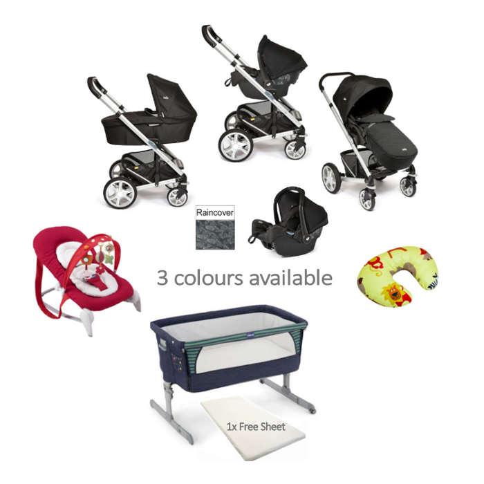 Joie  Chicco 5 Piece Newborn Travel System Starter Bundle denim