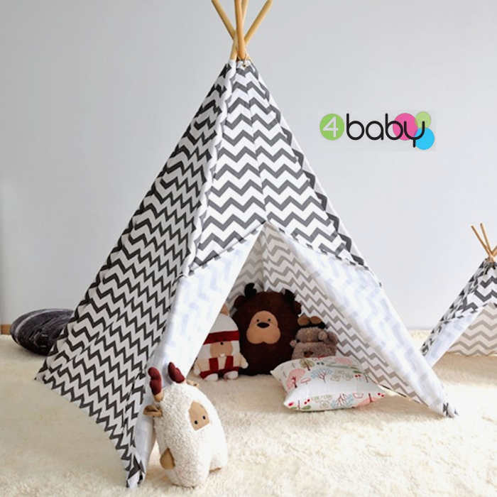 4baby Large Kids Teepee  Baby Play Tent - Chevron Grey