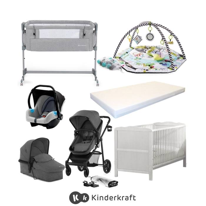 Kinderkraft Juli & Cot Bed Bundle - Grey
