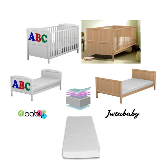 4baby  Jurababy Classic Cot Bed With Foam Mattress