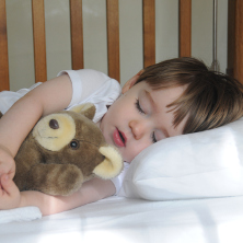 Toddler in a bed