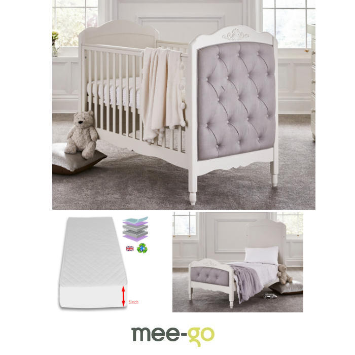 Mee-Go Epernay Cot Bed With Sprung Mattress - Ivory White