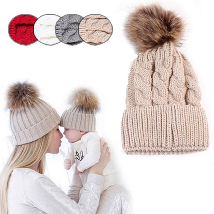 Mummy and Baby Matching Pom Pom Hat Set - 5 Colours