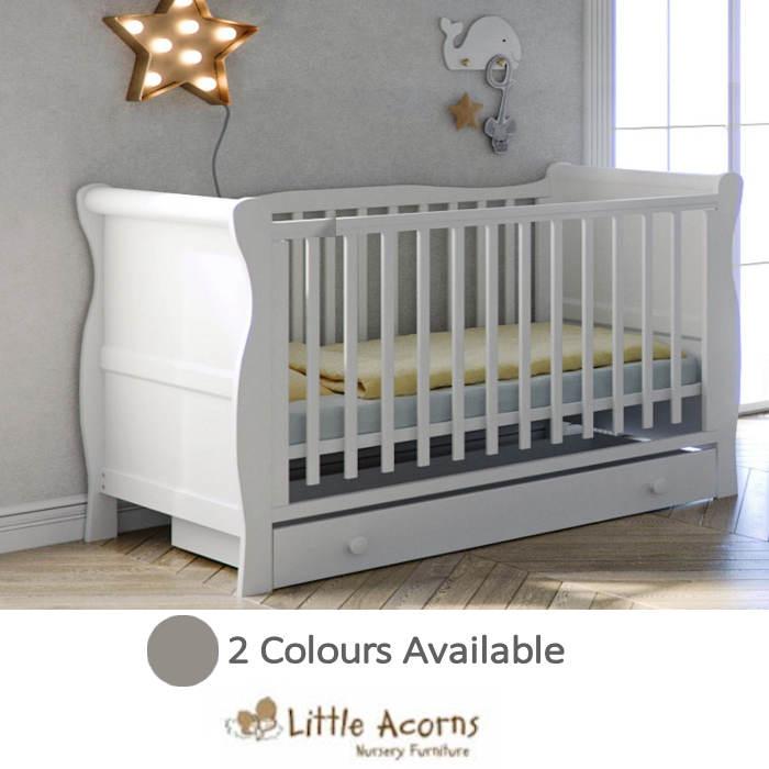 Little Acorns Sleigh Cot Bed 6 Piece Nursery Room Set With Deluxe 4inch Foam Mattress
