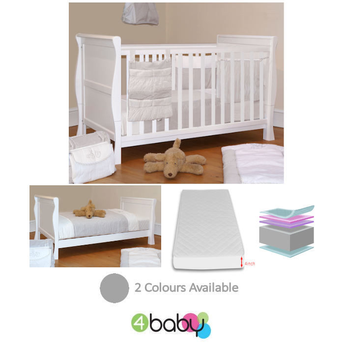 4Baby 3 in 1 Sleigh Cot Bed With Deluxe Foam Mattress - White (1)