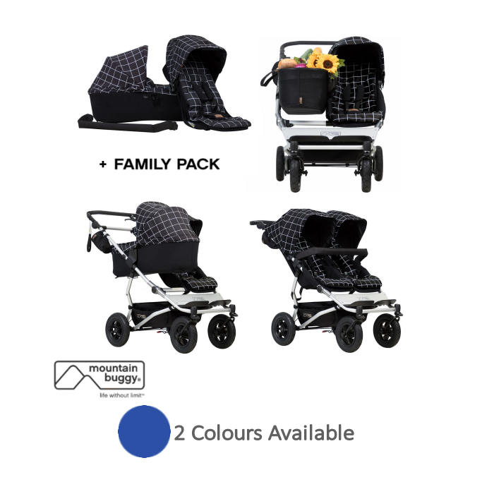 Mountain Buggy Duet V3 Single  Twin Pushchair With Family Pack