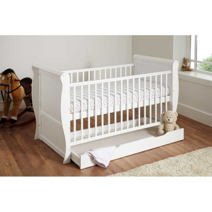 Cuddles Collection Sleigh Cot Bed (White)