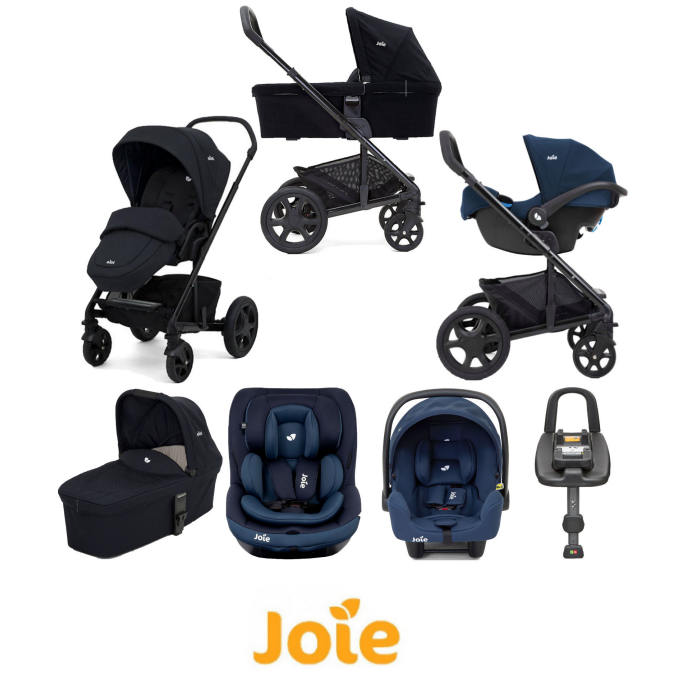 Joie Chrome DLX (i-Snug & i-Venture) Travel System With Carrycot and ISOFIX Base - Navy Blazer