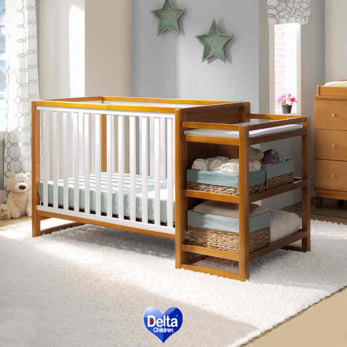 Delta Children Cozy Urban 3 in 1 Cot N Changer  Honey  White